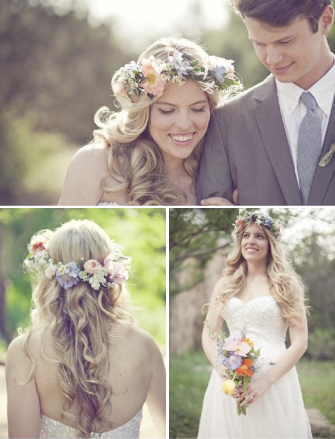 Причёски на свадьбу с венком